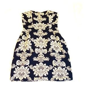 Navy and white, pocketed mini dress